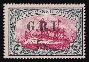 NEW GUINEA - GRI 1914 GRI 5s 3½mm Yacht 5Mk MNH ** + CERTIFICATE cat £28,000