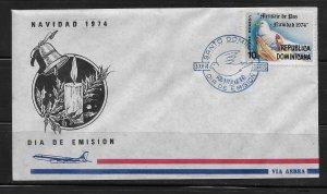 DOMINICAN REPUBLIC STAMPS,COVER NAVIDAD 1974 #F40
