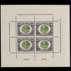 NICARAGUA 1950 - Scott# C315A S/S UPU 75th. 2.14c NH