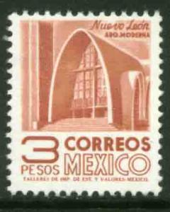 MEXICO 1076, $3P 1950 Def 8th Issue Fosforescent coated. MINT, NH. F-VF.