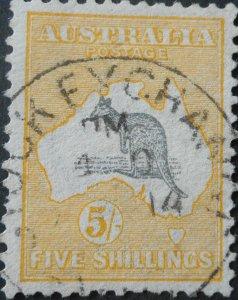 Australia 1913 Five Shillings Kangaroo with STOCK EXCHANGE postmark