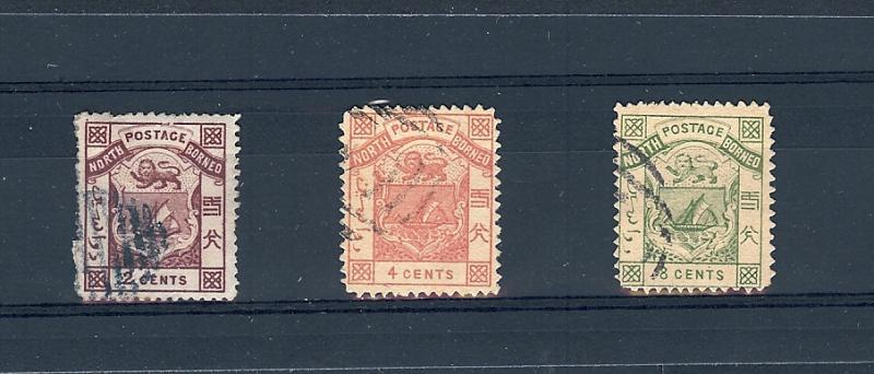 North Borneo, 1-3, Coat of Arms Singles, **Used**