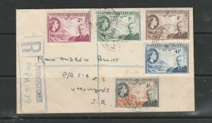 Northern Rhodesia FDC Plain, 1953 Rhodes Centenary, registered at Livingstone, s