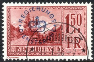 LIECHTENSTEIN-1935 1F50 Browish-Red Landscapes Official Sg O150 GOOD USED V40536
