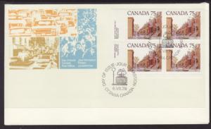 Canada 724 Street Scene Plate Block Canada Post U/A FDC