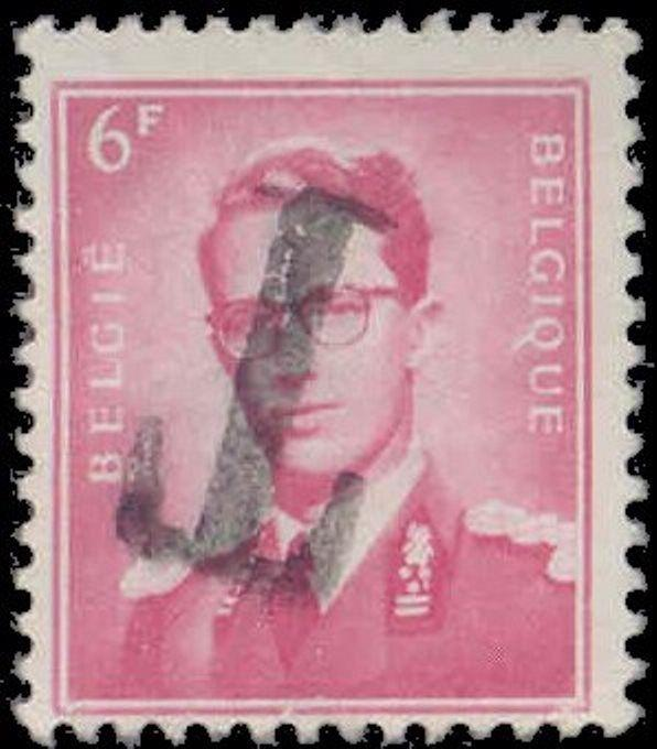 Belgium 1959-66 Inverted 'T' Postage Due Overprint on  6F King Baudouin Stamp