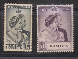 GAMBIA, 1948 Silver Wedding pair, mnh.