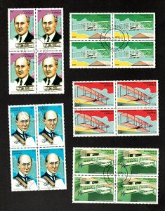 Congo complete set of 5 stamps in blks of 4 flight wright bros