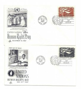 UN NY #57-58  3c + 8c United Nations Human Rights Day 1957 ArtCraft FDCs