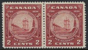 Scott 210 and 210i - 2c New Brunswick pair. Right stamp closed frameline, VF-NH