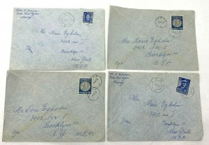Tenor + Feda Norway > Brooklyn NY 4 1950s airmail covers