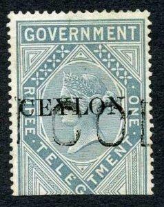 Ceylon Telegraph SGT4 1r Grey India opt Ceylon with Colombo cancel Cat 15