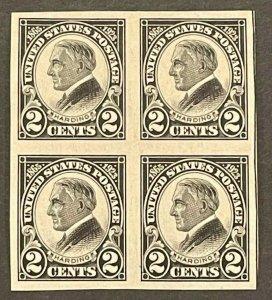 Scott#: 611 - Harding 2c 1923, Imperf Block of 4, Mint MNH OG - Lot 5