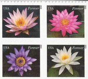 US Stamp - 2015 Water Lilies - Block of 4 Forever Stamps - Scott #4964-7