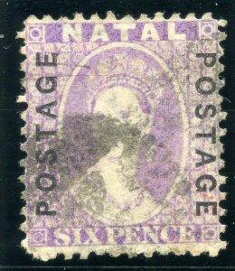 Natal 1873 QV 6d mauve very fine used. SG 62. Sc 40.