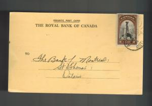 1939 Aylmerr Canada Postcard Cover Royal Bank to Bank of Montreal St Thomas