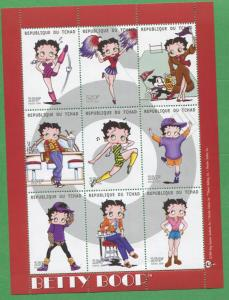 Betty Boop Cartoon Commemorative African Souvenir Stamp Sheet Chad E79