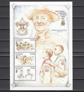 Guyana, Scott cat. 3356 a-c. Scout Jamboree sheet. Kennedy shown. ^