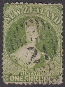 NEW ZEALAND 1862-64 1/- perf 13 fine used - SG79 cat £400....................793