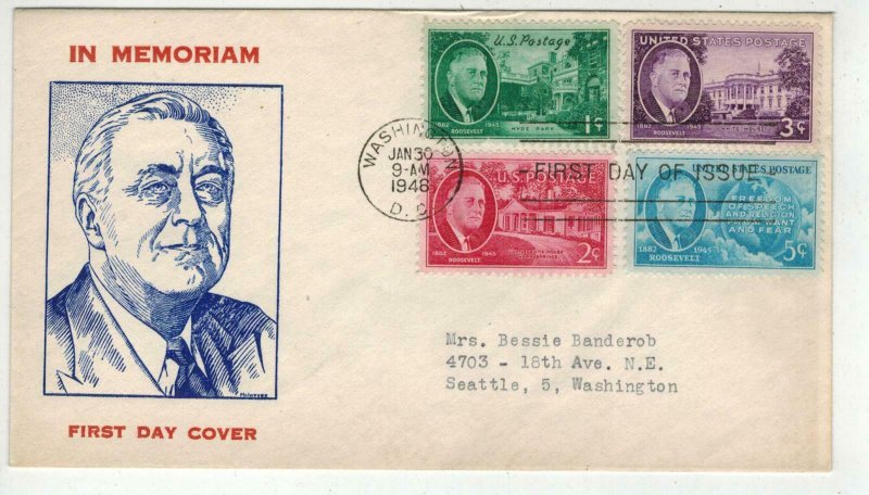 1946 FRANKLIN ROOSEVELT TRIBUTE 930-933 Complete Set of 4 On 1 FDC By Fidelity