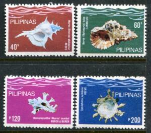 Philippines 1491-4 MNH Marine Life Shells 1980 Bursa bubo Murex Alabaster x12314