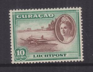 CURACAO, 1942 Air, Aeroplane, 10g. Red Brown & Emerald, mnh.
