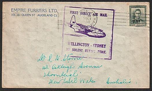 NEW ZEALAND 1950 first flight cover Wellington to Sydney...................79345