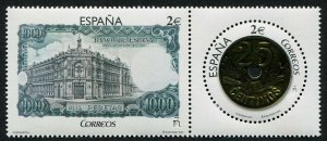 HERRICKSTAMP NEW ISSUES SPAIN Sc.# 4161 Coin & Bank Note Gold Foil