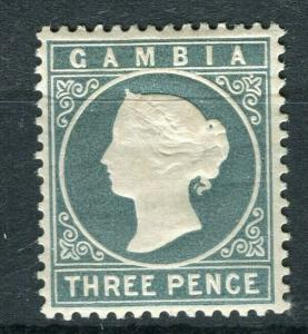 GAMBIA; 1886 classic QV Crown CA issue Mint hinged Shade of 3d. value