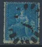 Barbados SG 15 SC# 11 Used Dp Blue partial margins  see scans and details