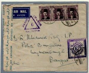EGYPT WW2 Cover Air Mail Alexandria INDIA Mymensingh 1940 DOUBLE CENSOR EP408