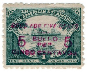 (I.B) US Cinderella : Central American Steamship Company 5c on 1c OP