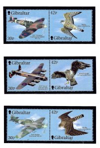 Gibraltar 851-53 MNH 2000 Planes and Birds in pairs  (KA)