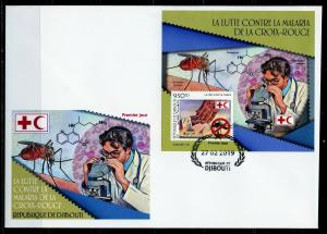 DJIBOUTI  2019 RED CROSS BATTLE AGAINST MALARIA SOUVENIR  SHEET FIRST DAY COVER