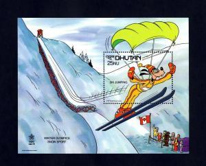 BHUTAN - 1988 - DISNEY - GOOFY - SKI JUMP - CALGARY OLYMPICS - MINT MNH S/SHEET!