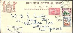 FIJI 1938 GVI 1d, 1½d & 5/- on commem FDC - scarce.........................62528