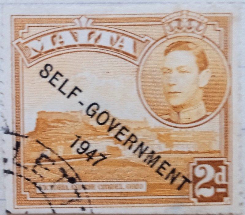 Malta : 1948 : 2d (yellow-ochre rare Issue) (Overprint Self Government)