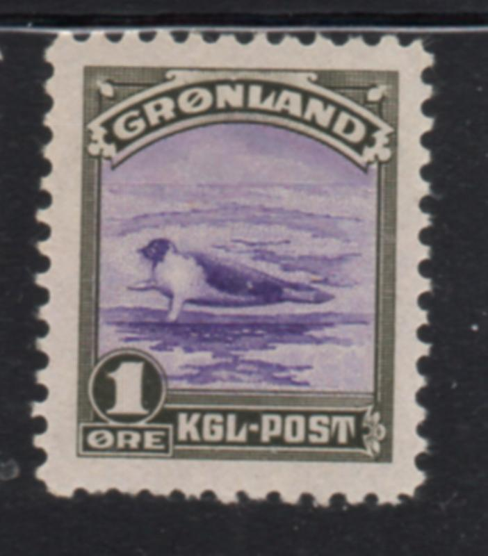 Greenland Sc 10 1945 1 ore seal stamp mint