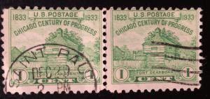 728 Fort Dearborn, Circulated Pair, Vic's Stamp Stash