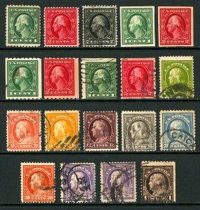 #405 - #423 1912-1914 1c-$1 Washington-Franklin Set Regular, Imperfs, Coils, M&U