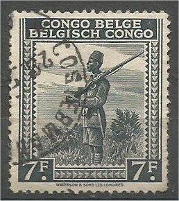 BELGIUM CONGO, 1942, used 7fr, Askari Scott 204