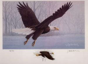 IOWA 1987  STATE HABITAT STAMP PRINT EAGLE  by J. Heidersbach Color Remarque