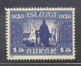Iceland Sc 156 1930 15 aur Vikings Naming Land stamp mint