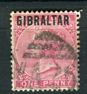 GIBRALTAR; 1890s early classic QV issue fine used 1d. value Postmark A26
