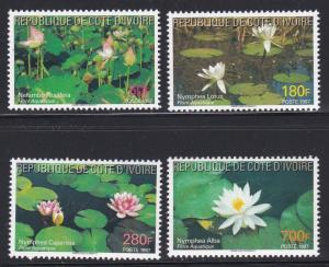 Ivory Coast # 998-1001, Water Flowers, NH, 1/3 Cat.