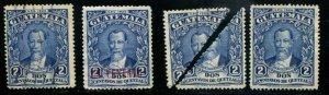 Guatemala SC# 235, 297, 300, 300a Pres Barrios Used & MH