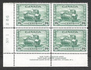 Doyle's_Stamps: XF Scott #259** Canadian Banknote Company Plate Block