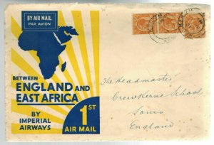 1931 Kisumu Kenya KUT Imperial Airways First Flight Cover to England FFC