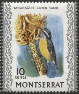 MONTSERRAT 1970  Sc 236  MNH, VF, 10c Bananaquit Bird