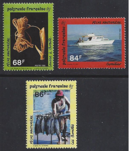 French Polynesia #612-4 MNH, set, Bonito fishing, issued 1993